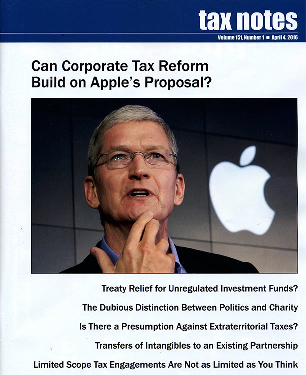 Can Corporate Tax Reform Build on Apple's Proposal?