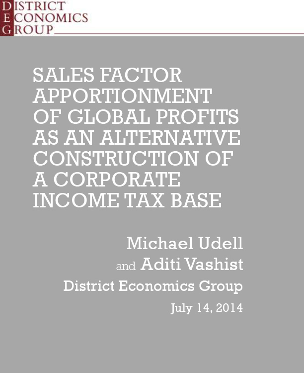 Sales Factor Apportionment of Global Profits as an Alternative Construction of a Corporate Income Tax Base